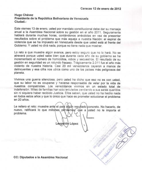 Carta de Leopoldo López al Presidente de la República