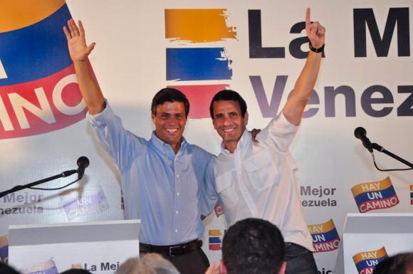 Leopoldo López y Henrique Capriles en la rueda de prensa donde anunciaron su alianza