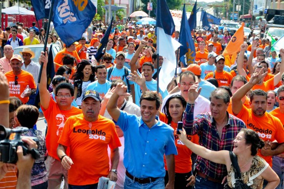 Leopoldo López en su recorrido por las calles de Guanare, estado Portuguesa