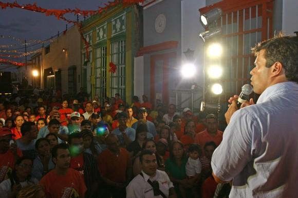 Leopoldo López en el sector de Santa Lucía en Maracaibo