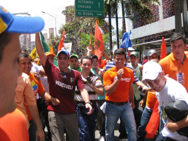 Leopoldo López con Henrique Capriles en la caminata del 10 de junio de Caracas